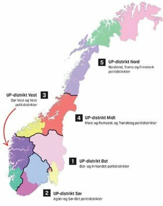 De nye UP-distriktene.