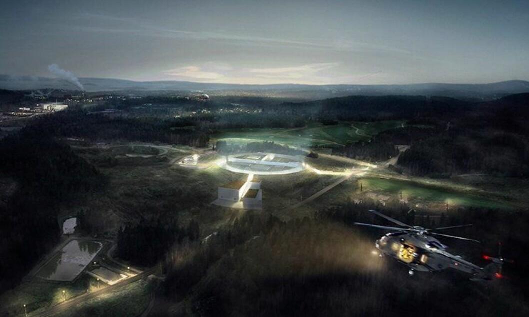 Slik ble et mulig beredskapssenter på Grønmo i Oslo skissert å kunne se ut. Nå er Grønmo vraket.