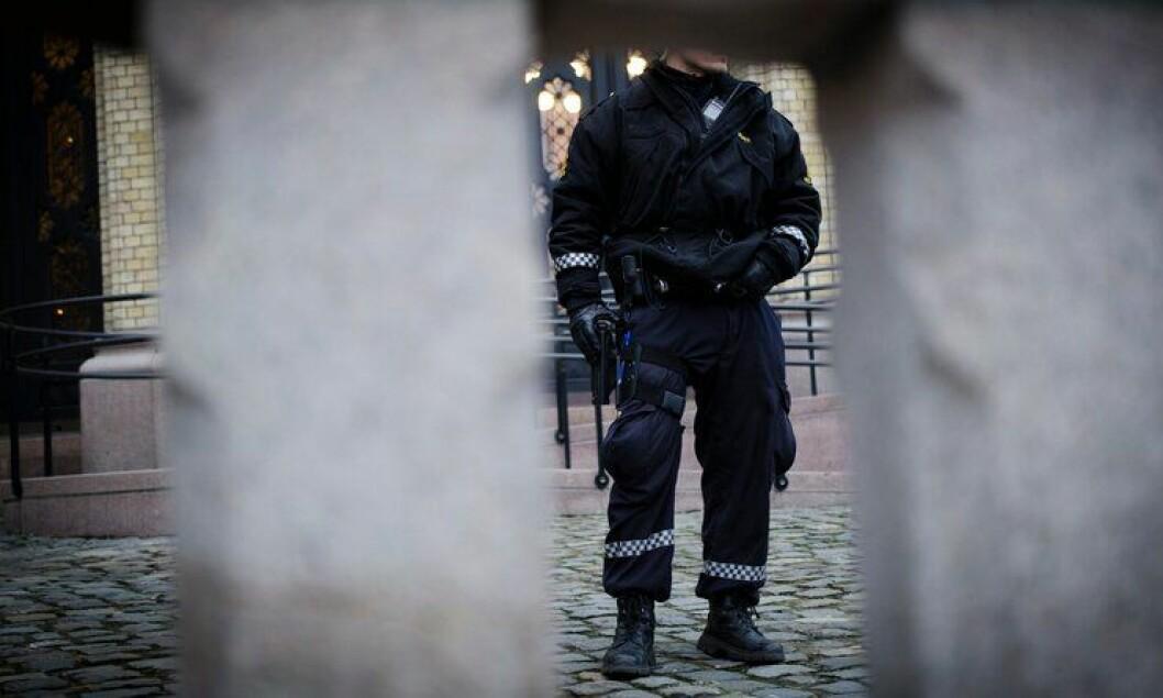 Politimann uten for Stortinget mens politiet var midlertidig bevæpnet i fjor vinter. I forkant av bevæpninga kunne risikovurderinger vært gjort fra sentralt hold, mener Arbeidstilsynet.