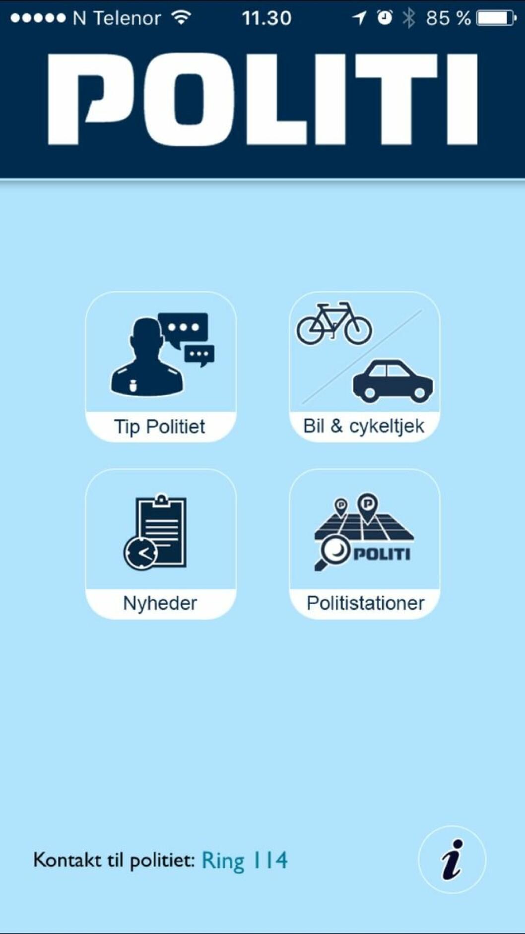 Slik ser den danske politiappen ut.