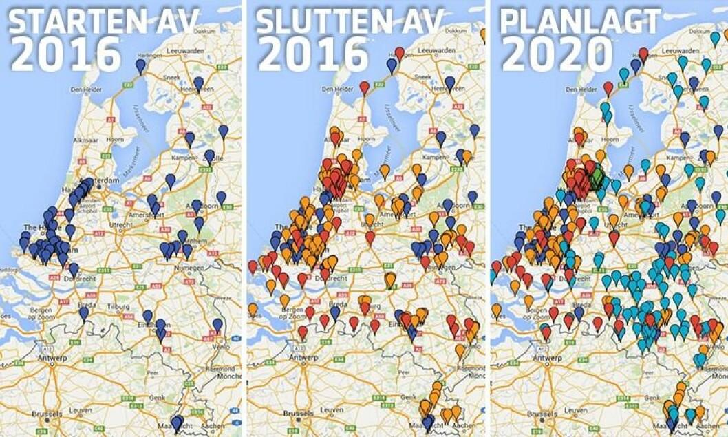 Slik ser nederlandsk politi for seg å utvikle ANPR. På det første bildet ser du antall ANPR-kameraer montert på veiene i i år. På bilde nummer to, ser du planene nederlandsk politi har for å sette opp nye enheter i løpet av året. På det siste er planen for 2020 - langt flere kameraer er satt opp, blant annet ved hjelp av private. Nederlandsk politi kan dermed ha kontroll med langt flere kjøretøy gjennom et land som brukes som en gjennomfartsåre i Europa.