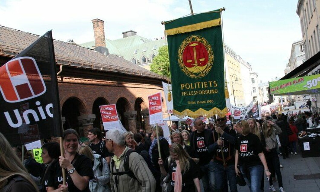 Et Unio i streik, betyr et Politiets Fellesforbund i streik, fordi PF ligger under Unio. Her fra streik i 2012.