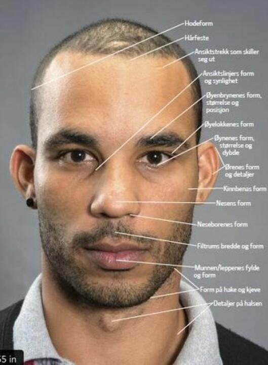 Eksempler på hva politifolk kan se etter for å sammenligne bilder og ansiktstrekk.