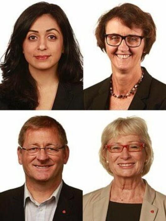 Hadia Tajik, Kari Henriksen, Jorodd Asphjell og Lise Wiik utgjør Arbeiderpartiets justisfraksjon på Stortinget. Nå er de bekymret for politireformen.