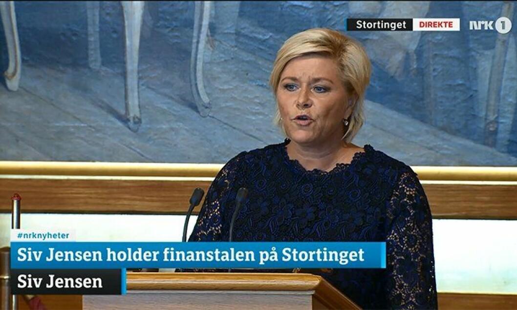 Finansminister Siv Jensen (Frp) legger fram Statsbudsjettet i Stortinget i dag.