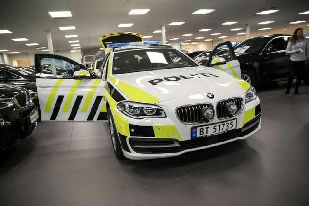 Den nye BMW 525 før den ble hentet av UP torsdag.
