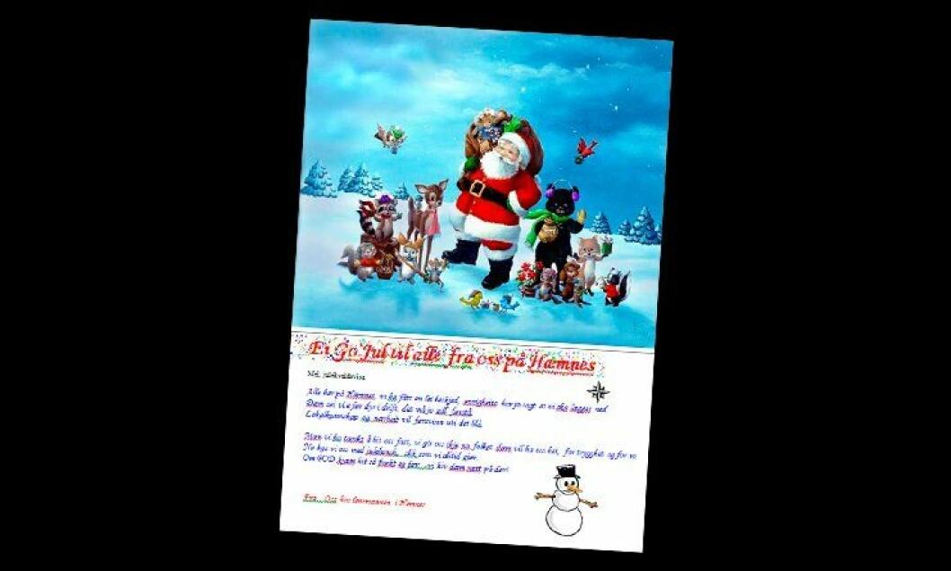 Hemnes lensmannskontor sendte ut et internt julekort.