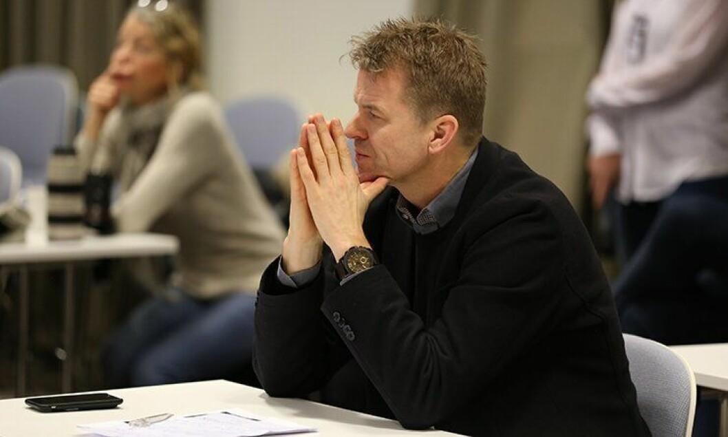 PF-leder Sigve Bolstad under politidirektørens pressekonferanse fredag.