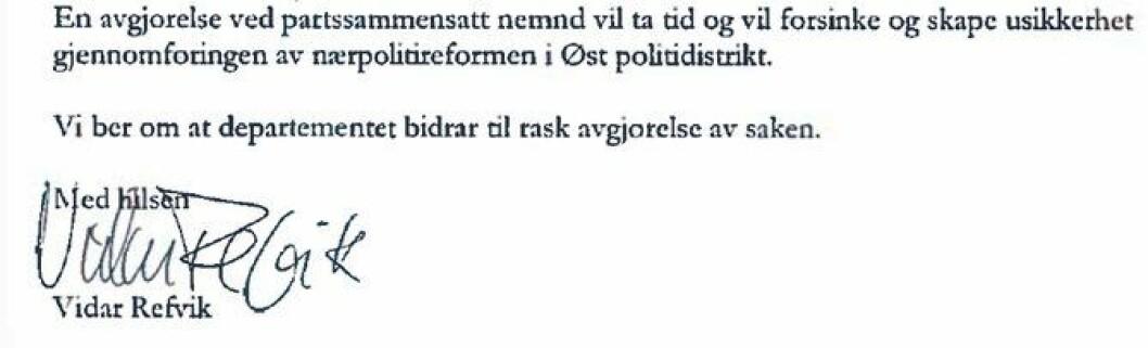 POD ba i brevet fra november sort på hvitt om at departementet grep inn.