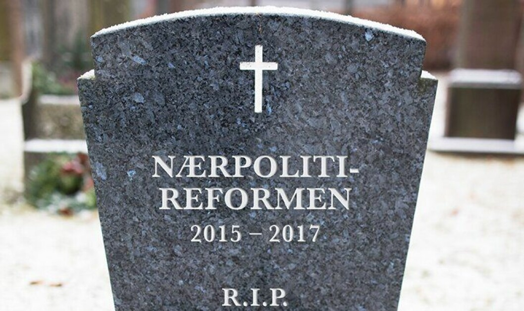 Nærpolitireformen er gravlagt, mener PF-leder Sigve Bolstad. Bildet er manipulert.