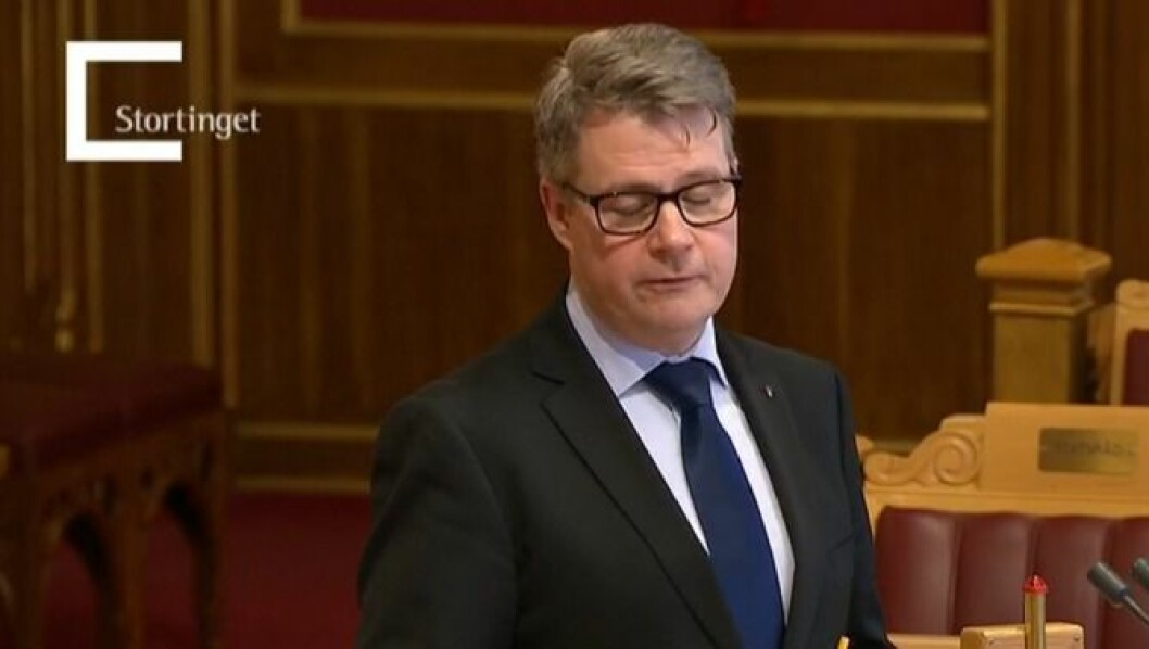Justis- og beredskapsministeren på talerstolen i går.