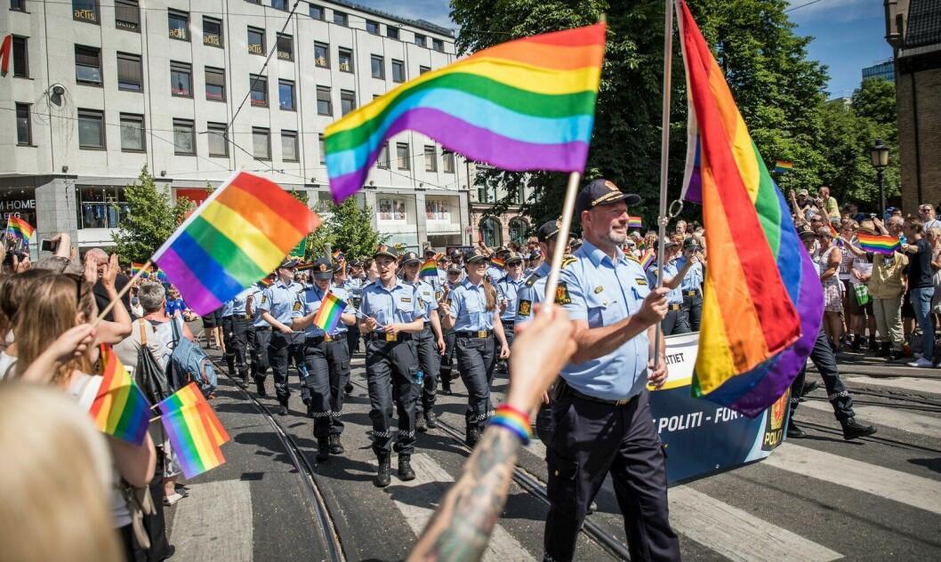 Politiet i Oslo under Pride-paraden i sommer.