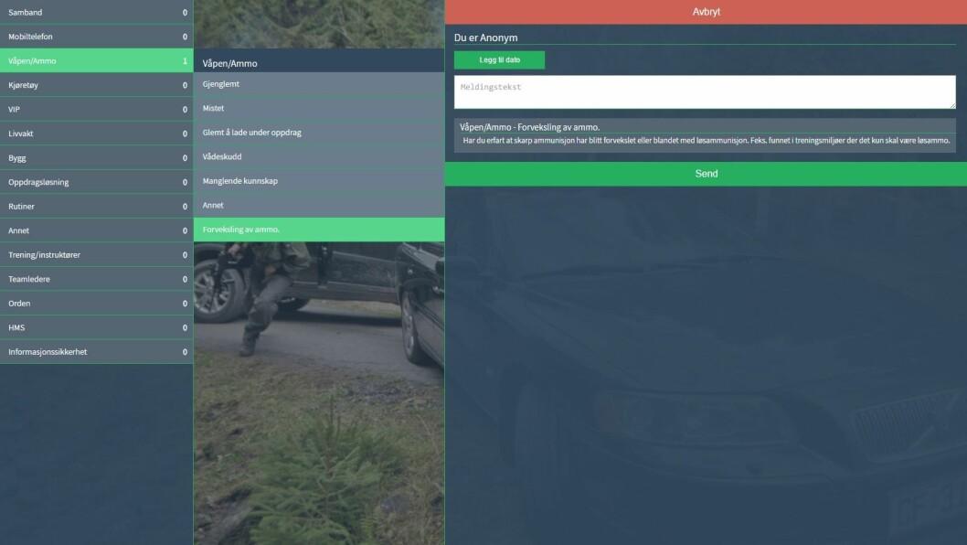 Inne i verktøyet kan de ansatte skrive inn hendelsen de vil rapportere.