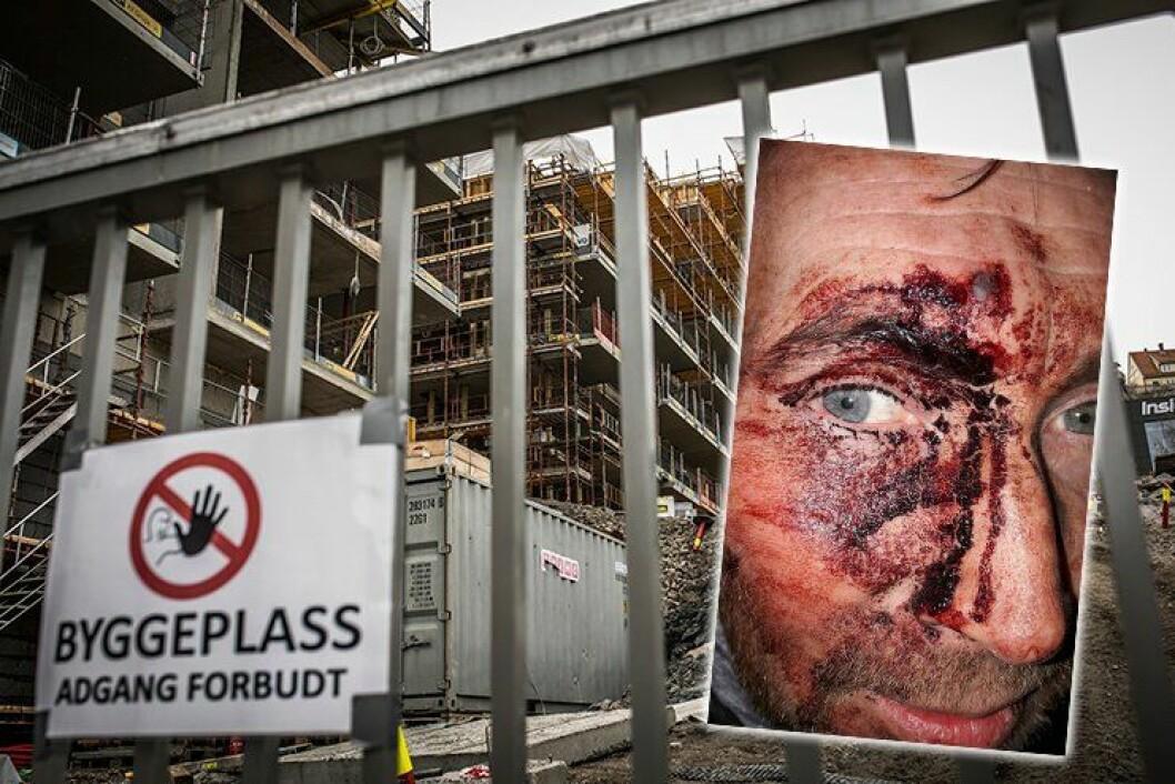 Da politimannen ankom byggeplassen i Kværnerbyen i Oslo, der en innbruddsalarm hadde gått, ble han slått med en planke med spiker.