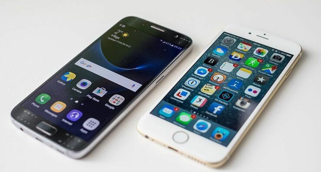Samsung S7 og iPhone 7, to toppmodeller som politiet kan velge.