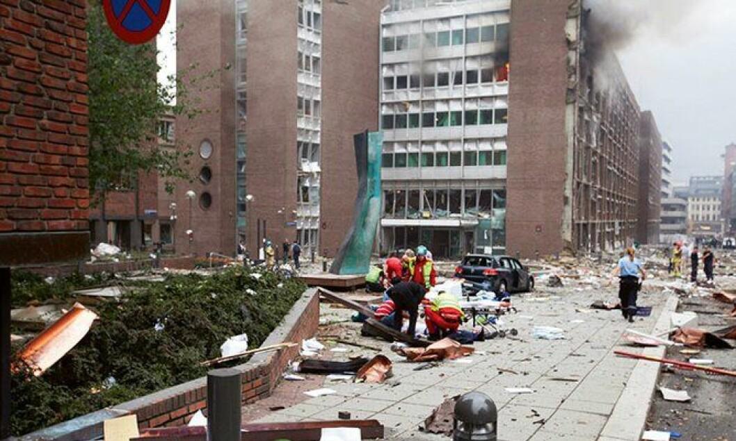 Området rundt regjeringskvartalet etter bombeeksplosjonen 22. juli 2011.