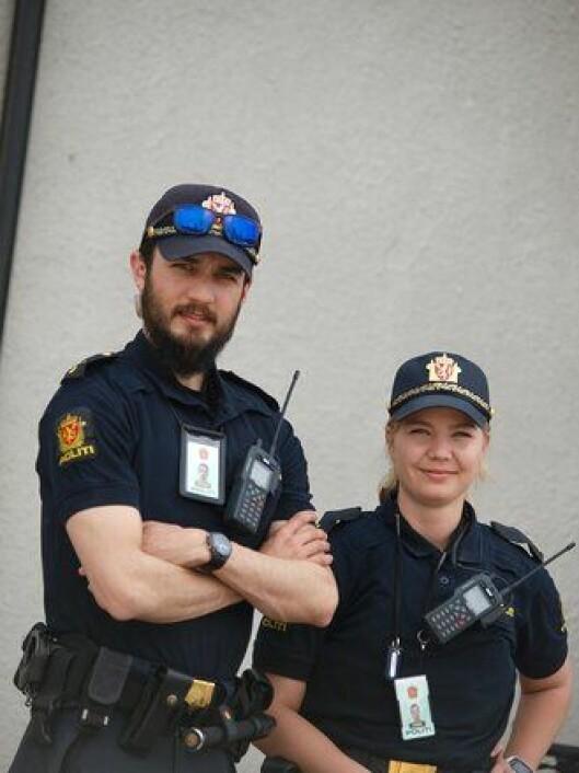 Politibetjent Karl Nordlie og politistudent Helle Nygård Haug.