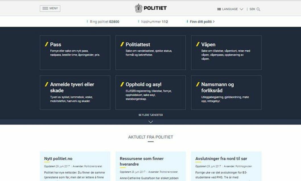 Slik ser www.politiet.no ut - politiets nye ansikt utad.