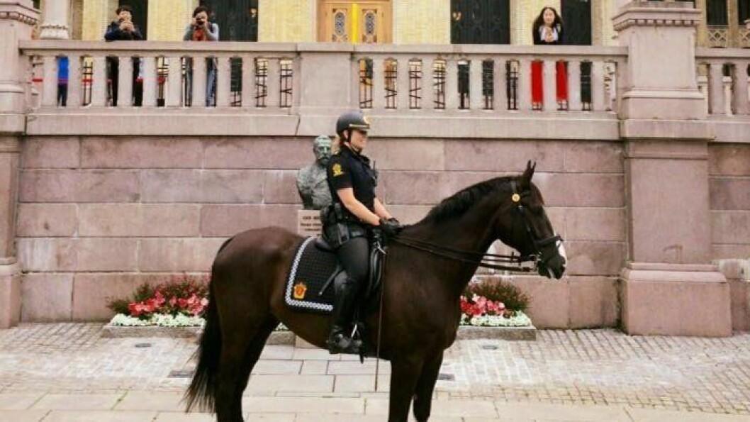 KLAR FOR JOBB: Mjølner er klar for ufordringer i Oslos gater. Her er han foran Stortinget med politirytter Ingunn.