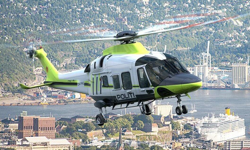 Slik kan politiets nye helikopter se ut, ferdig uniformert. Helikopteret er av typen Leonardo AW169. Bildet er manipulert.