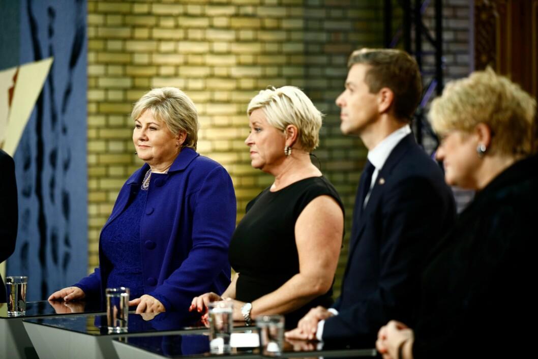 KNAPT FLERTALL: Statsminister Erna Solberg beholdt det blåblå flertallet med knapp margin etter at KrF trakk seg ut av regjeringssamtalene. Foto: Stortinget