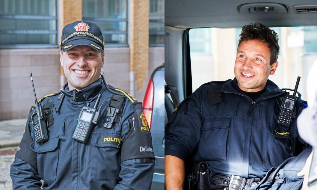 KJENTMANN OG UKJENT: Stian (t.v.) er politimann i Bergen og leder IP3-patruljen bestående av mannskaper fra Østlandet, rundt i vestlandshovedstaden. Politimannen Rune (t.H) fra Oslo er forberedt på å gripe raskt inn, selv om gatene han opererer i er ukjente.