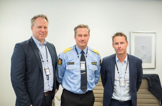 PIT-direktør Tormod Stien, seksjonssjef i POD, Jørn Schjelderup og administrerende direktør i Geodata, Geir Hansen.