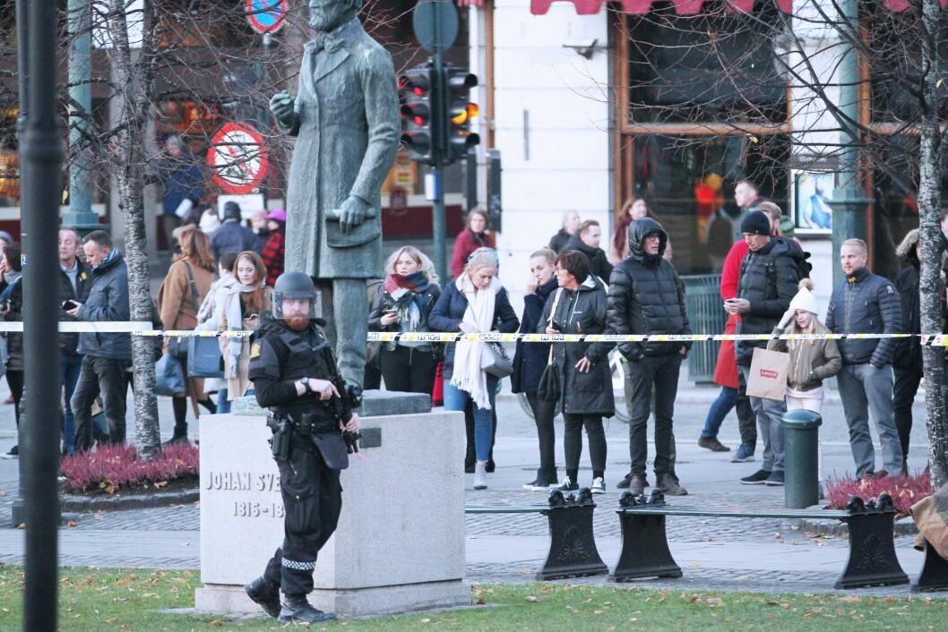 TRUSSELBILDE:  Beredskapen blir ikke rasert, sier leder i Politijuristene og avviser påstandene fra tillitsvalgt i Oslo, Kristin Aga. Her fra terrorøvelsen i Oslo tidligere i høst.