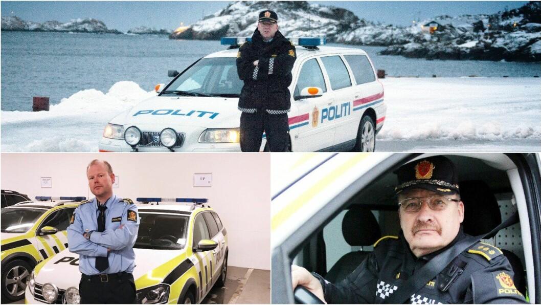 SPENTE: De tre politimennene er spente på dommen i Høyesterett. Mons Klaussen fra Svolvær (øverst), Yngve Widding fra Tromsø (t.v.) og Magne Knudsen fra Øvre Årdal (t.h).