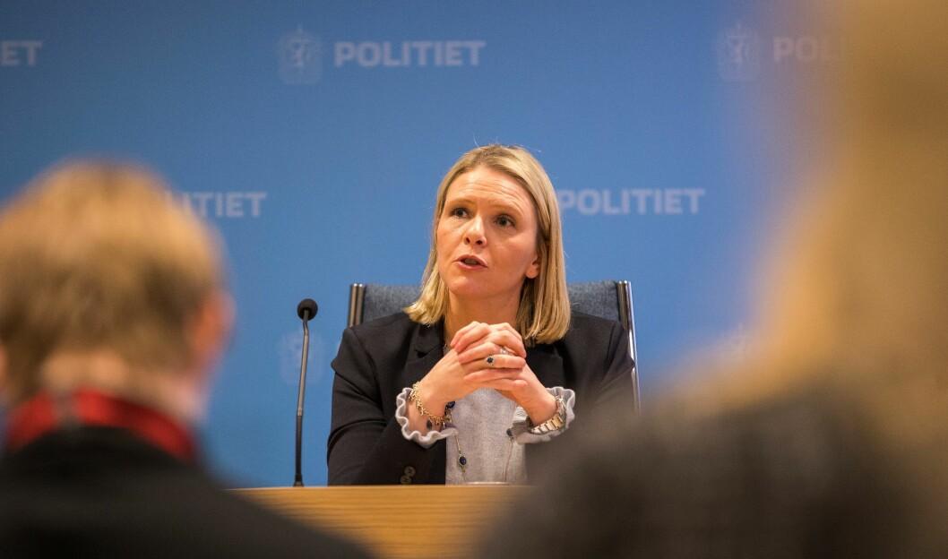 Justisminister Sylvi Listhaug under dagens pressekonferanse.