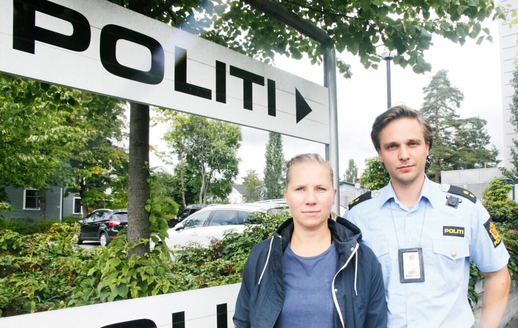BLIR HØRT: Kongsvinger politistasjon, nærmere 26 kilometer unna Magnormoen ved svenskegrensa, har lenge etterlyst økt satsing på bekjempelse av grensekriminalitet. Hovedtillitsvalgt, Jetmund Fure og varatillitsvalgt, Veronika Amble Nærum er svært fornøyde med at det nå kommer på plass et nytt tjenestested på riksgrensen.
