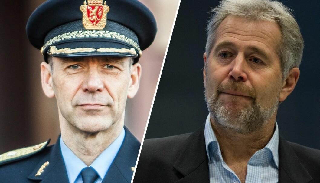 Morten Hojem Ervik, sjef for Politiets utlendingsenhet og Arne Johannessen, tidligere PF-leder og regionlensmann i Vest politidistrikt, er uenige om det er riktig av politifolk å si hva de mener om hvordan Sylvi Listhaugs begrepsbruk påvirker politijobben.