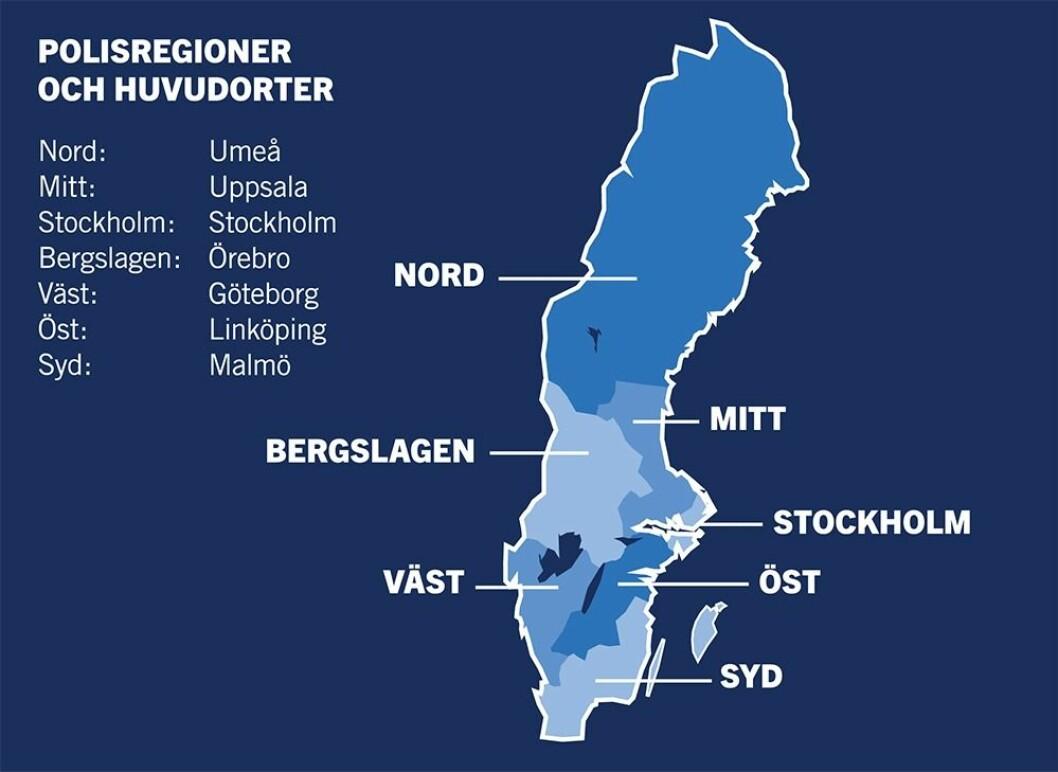 Svensk politi er delt i sju regioner, men én av dem dekker halve landet.
