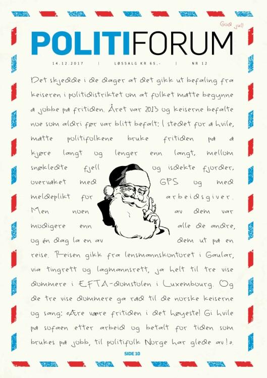 """Forsiden med Politiforums versjon av """"Juleevangeliet"""". Trykk på bildet for å se det større."""