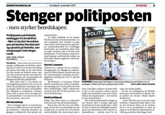 STOPPORDRE: 16. november 2017 var det offisielt. Politiposten på Holmlia skulle stenges ved årsskiftet, meldte John Roger Lund til Nordstrands blad. Posten overlevde i 33 år.