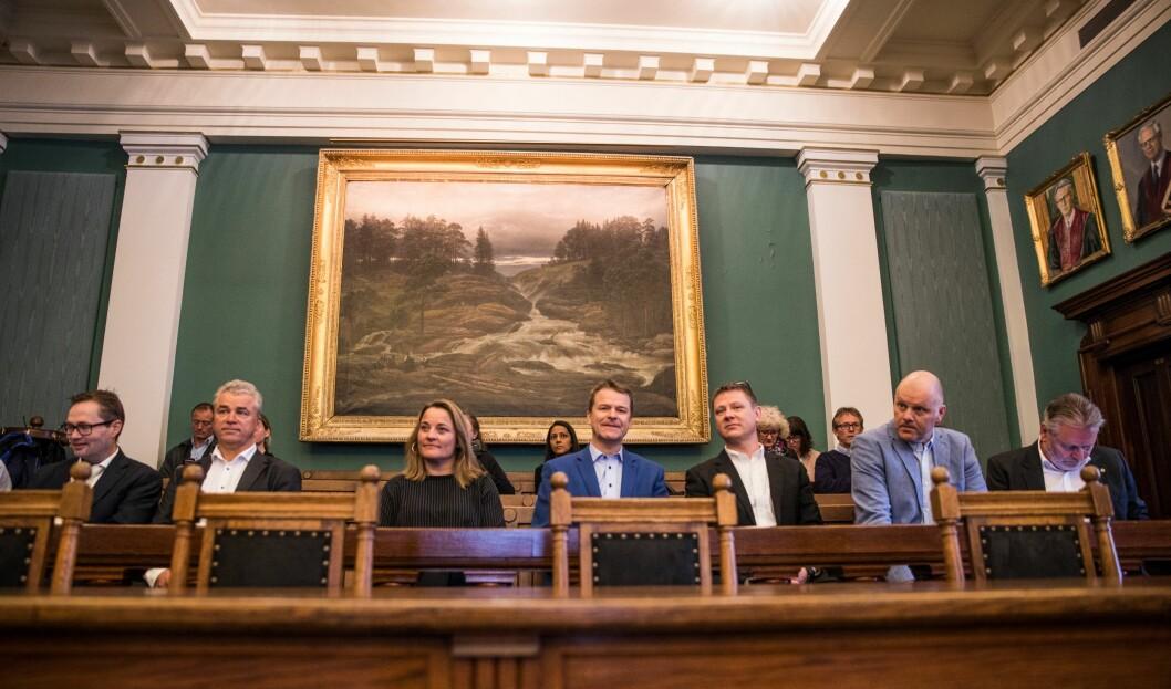 Lederne i fagforeninga var representert på første benk i Høyesterett i dag.