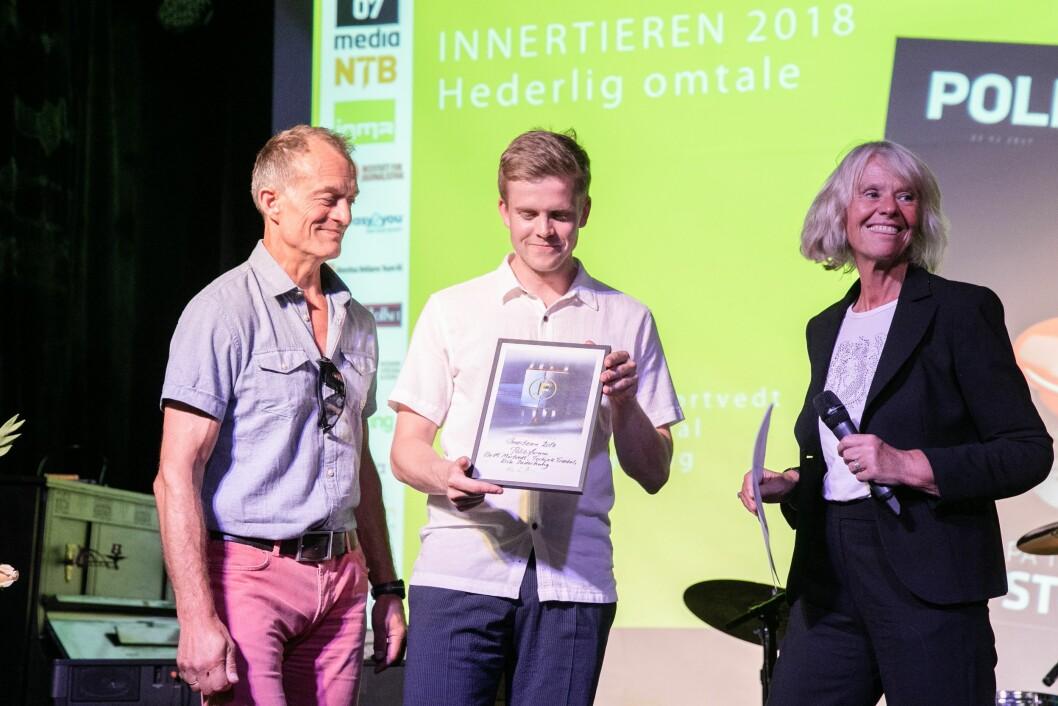 Hederlig omtale til Politiforum ved redaktør Ole Martin Mortvedt (t.v.) og Torkjell Jonsson Trædal. Erik Inderhaug bidro også til reportasjen, men var ikke til stede.