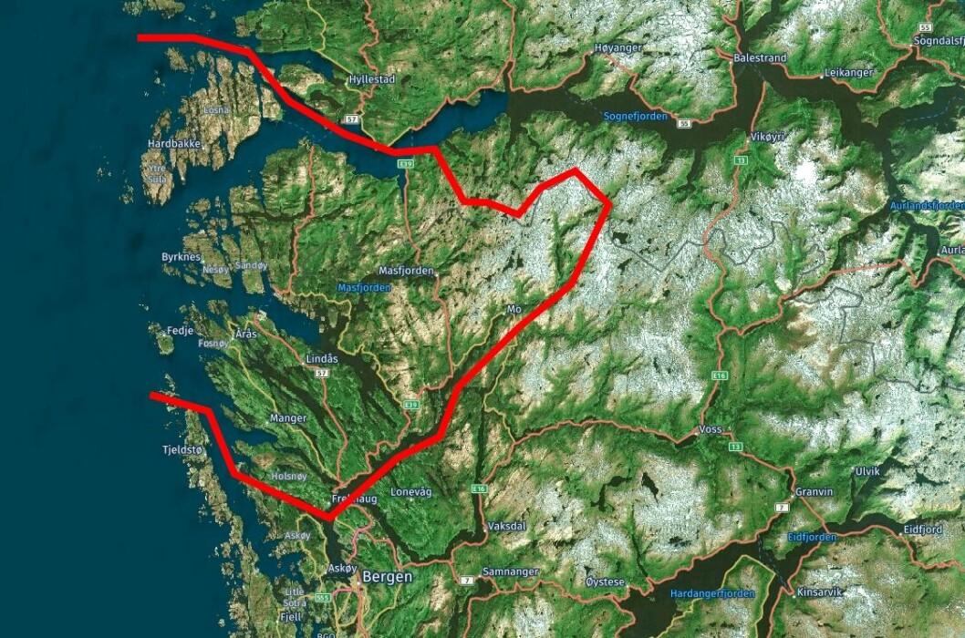 Fjell, fjord, øyer og hovedveien langs Vestlandet. Politiet i Nordhordland lensmannsdistrikt dekker mye.