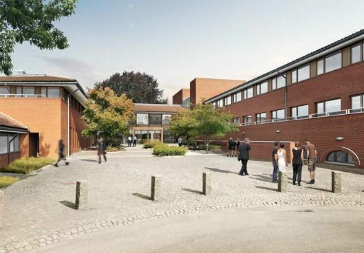 Inngangparti på skolen som åpner i 2020 i Vejle.