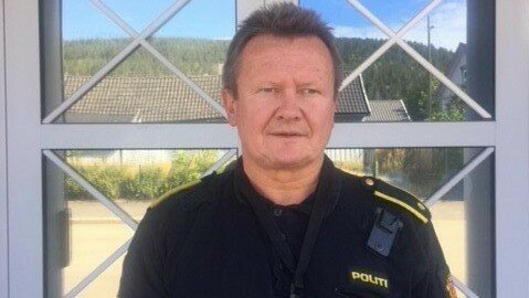 Geir Petter Nedregård ved Kongsberg politistasjon.