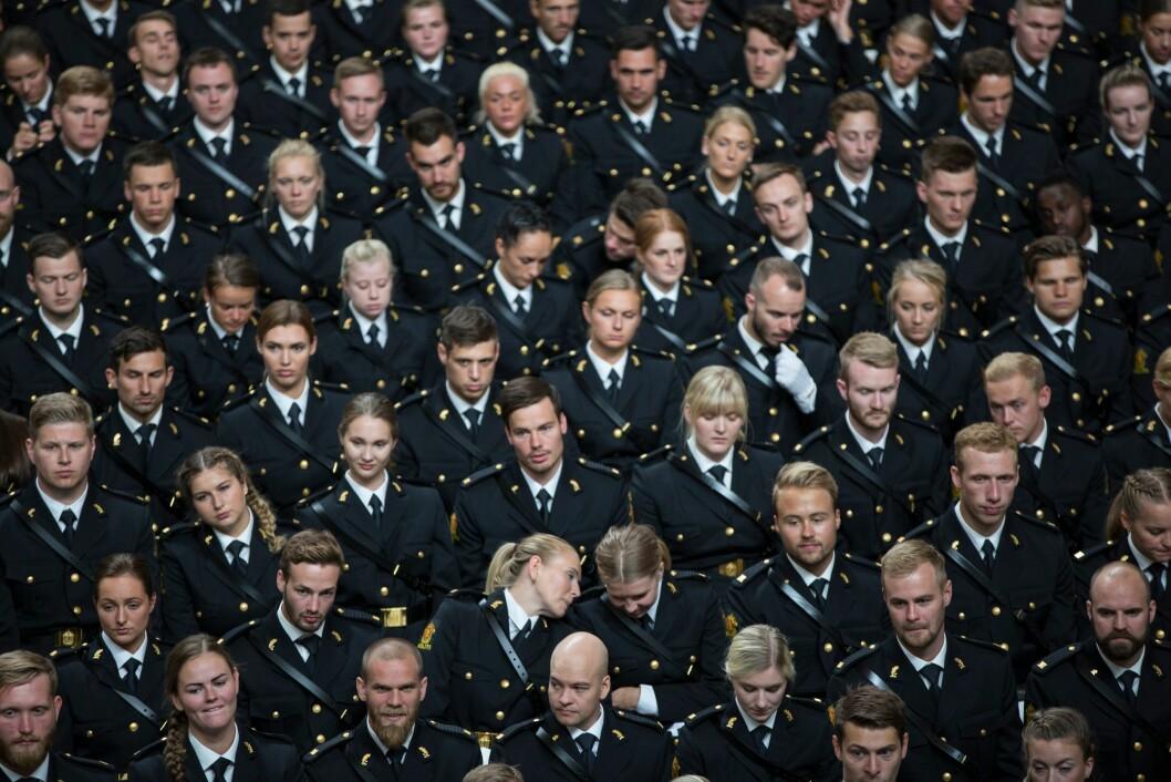 Bildet er tatt under avslutningsseremonien for tredjeårsstudenter ved Politihøgskolen i Oslo i 2018.