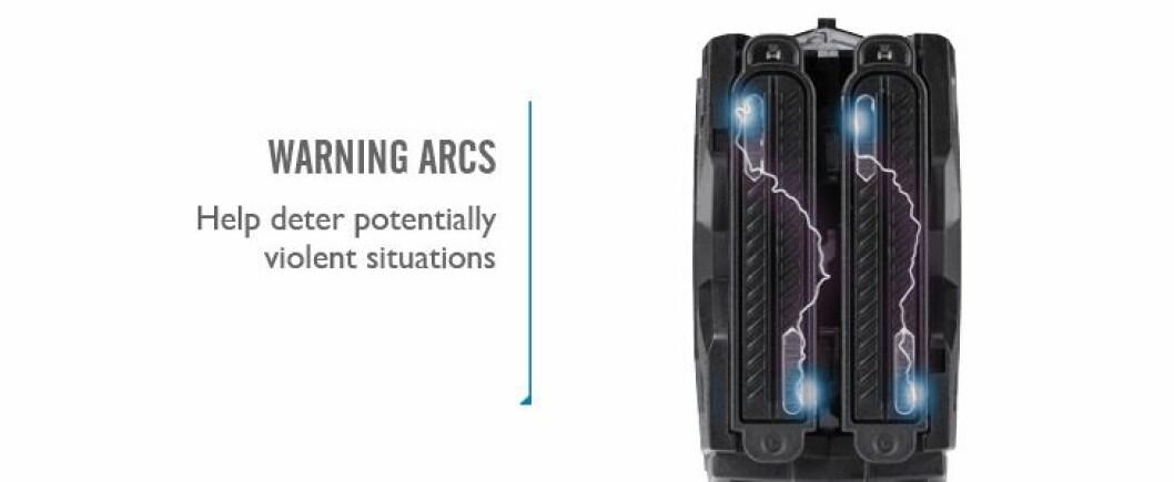 """Slik ser det produsenten kaller """"warning arc"""" ut for den pistolen rettes mot."""