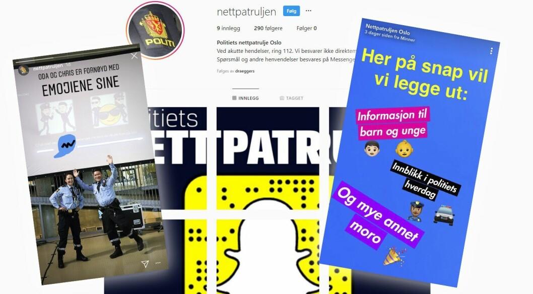 Politiets nettpatrulje er åpnet på Facebook, Snapchat og Instagram.