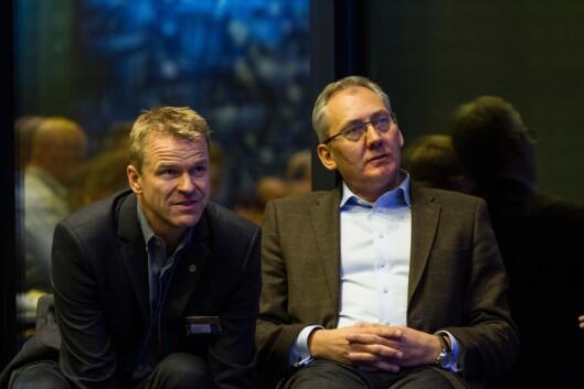 Sigve Bolstad og Odd Reidar Humlegård under et av flere PF-landsmøter Humlegård har gjestet.