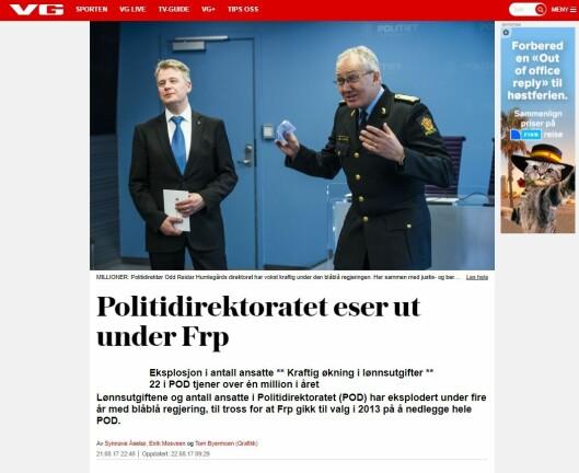ESER UT: Mediene har vært harde mot Politidirektoratet vekst. Tidvis unyansert harde, ifølge politidirektøren.