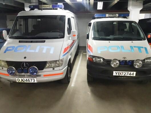 Her er noen av eksemplene fra kjelleren i gamle Salten politidistrikt for noen år siden. Nå er situasjonen på bedringens vei, men disse bilene brukes fortsatt til transport av UEH-styrker.