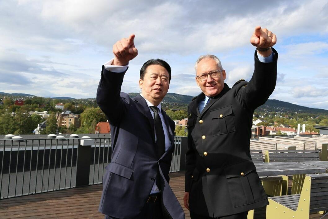 Interpol-president Meng Hongwei (64) sammen med politidirektør Odd Reidar Humlegård i september.