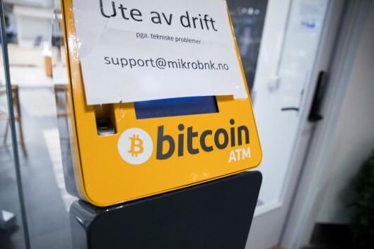 Denne automaten står på Alexander Kiellands plass i Oslo, og kan brukes til å veksle inn norske kroner i bitcoin. Nå kan den være ulovlig.