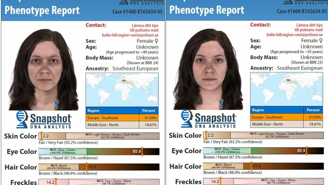 Slik anslår DNA-analysene at gjerningspersonen kan se ut nå, 49 år gammel, og da drapet skjedde, rundt 35 år gammel.