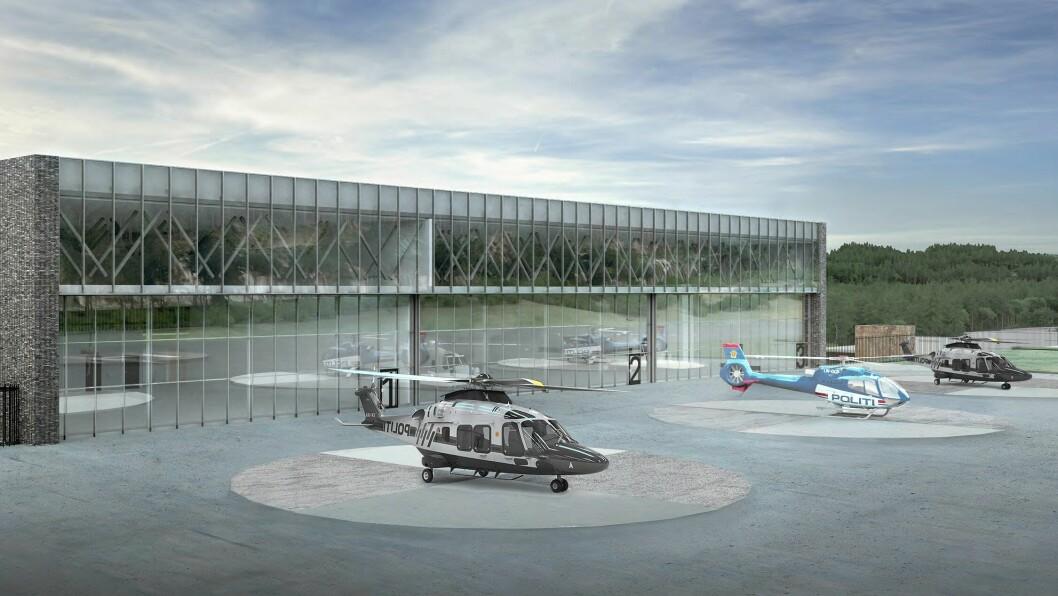 Slik vil politiets nye helikopterhangar på beredskapssenteret seende ut, ifølge arkitektene. Flere investeringer vil i framtiden kunne bli finansiert gjennom et eget investeringsbudsjett.